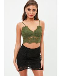 Missguided - Green Lace Strappy Bralet - Lyst