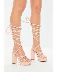 ecadd9136577 Missguided Nude Gladiator Platform Sandals in Natural - Lyst