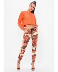 Missguided - Orange Raw Hem Crop Sweatshirt - Lyst