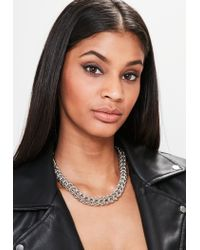 Missguided | Metallic Silver Chunky Chain Necklace | Lyst