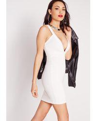 Missguided - Ponte Plunge Bodycon Dress White - Lyst