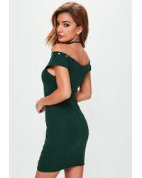 Missguided | Green Metal Bar Detail Eyelet Dress | Lyst