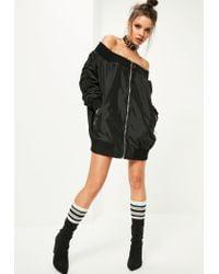 Missguided | Black Bardot Ribbed Trim Bomber Jacket | Lyst