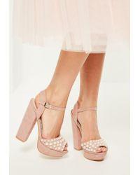 3d40c65927faff Lyst - Missguided Pink Pearl Detail Platform Heels in Pink