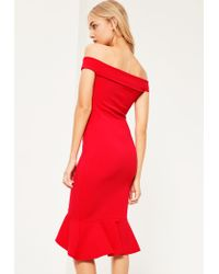 Missguided | Red V Bar Bardot Frill Bottom Dress | Lyst