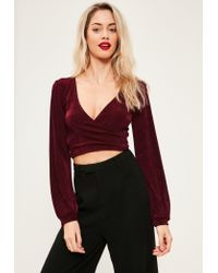 Missguided | Multicolor Burgundy Slinky Drape Wrap Front Crop Top | Lyst