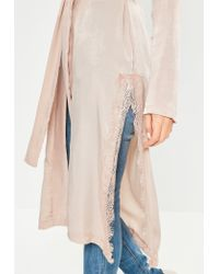 Missguided | Pink Satin Lace Applique Side Kimono Jacket | Lyst