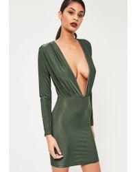Missguided | Green Khaki Slinky Long Sleeve Bodycon Dress | Lyst