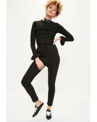 Missguided | Black Frill Detail Loopback Jumpsuit | Lyst