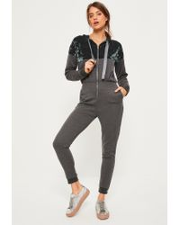 a181a904ffc5 Lyst - Missguided Grey Velvet Top Loopback Hooded Jumpsuit in Gray