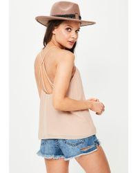 Missguided | Natural Nude Strappy Back Cami Top | Lyst