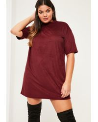 Missguided | Red Plus Size Burgundy Faux Suede T-shirt Dress | Lyst
