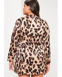 Missguided - Plus Size Brown Leopard Print Wrap Dress - Lyst