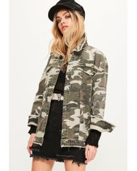 Missguided | Natural Khaki Camouflage Raw Edge Trucker Jacket | Lyst