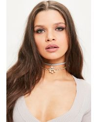 Missguided | Gray Grey Embellished Drop Detail Choker Necklace | Lyst