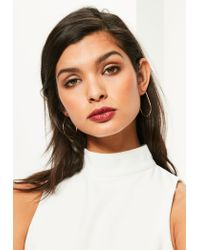 Missguided | Metallic Rose Gold Oval Hoop Earrings | Lyst