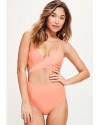 Missguided   Multicolor Peach Cross Front Bikini Top- Mix & Match   Lyst