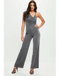 Missguided - Gray Grey Drape Shoulder Slinky Wide Leg Jumpsuit - Lyst