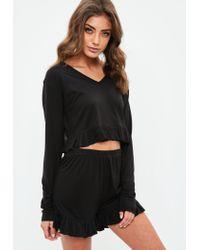 Missguided - Black Jersey Frill Short Pyjamas - Lyst
