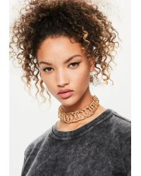 Missguided | Metallic Gold Oversized Chain Link Choker Necklace | Lyst