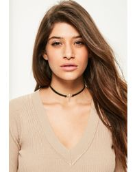 Missguided | Black Diamante Cross Charm Choker Necklace | Lyst