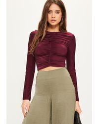 Missguided | Purple Burgundy Ruched Front Long Sleeved Crop Top | Lyst