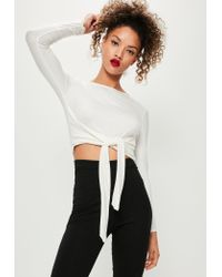 59bed2380824c Missguided White Tie Front Crop Top in White - Lyst