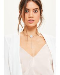 Missguided | Metallic Silver Drop Pendant Choker Necklace | Lyst