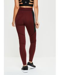 Missguided - Red Active Burgundy Panel Detail Sports Leggings - Lyst