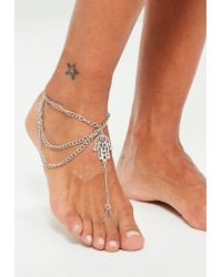 Missguided | Metallic Silver Hamsa Hand Anklet | Lyst