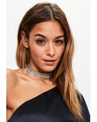 Missguided | Metallic Silver Chainmail Choker Necklace | Lyst
