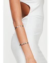 Missguided - Metallic Silver Metal Bar Arm Cuff - Lyst