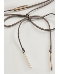 Missguided   Gray Grey Tie Neck Gold Bar Choker Necklace   Lyst