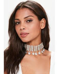 Missguided | Metallic Gold Statement Diamond Choker Necklace | Lyst