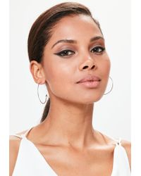 Missguided - Metallic Silver Thin Hoop Earrings - Lyst
