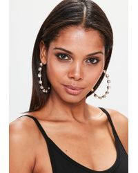 Missguided | Metallic Gold Diamond Hoop Earrings | Lyst