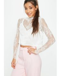 eb2a61d9e8788 Women s White Cami Insert Lace Crop Top. See more Missguided Long-sleeved  ...
