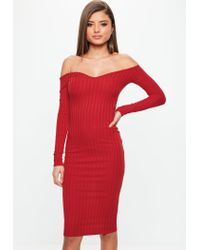 Missguided - Red Ribbed Bardot Bodycon Midi Dress - Lyst
