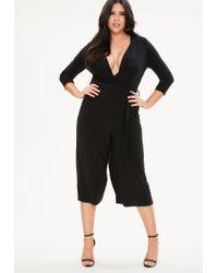 Missguided - Plus Size Black Slinky Wrap Jumpsuit - Lyst