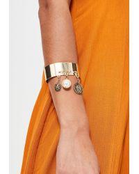 Missguided   Metallic Gold Metal Charm Drop Cuff Bracelet   Lyst