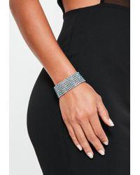 Missguided | Metallic Silver Diamante Cuff Bracelet | Lyst