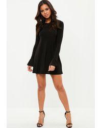 Missguided - Black Long Sleeve Frill Cuff Swing Dress - Lyst