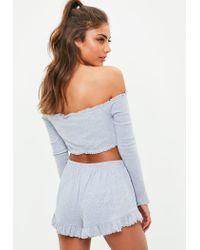 Missguided - Gray Grey Bardot Crop Top And Shorts Pyjama Set - Lyst