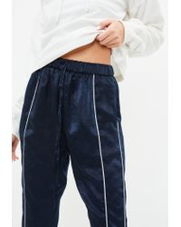 Missguided - Blue Navy Hammered Satin Double Stripe Joggers - Lyst