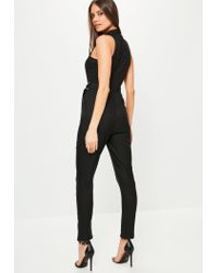 Missguided - Black Sleeveless Wrap Tuxedo Jumpsuit - Lyst