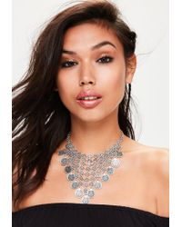 Missguided - Metallic Silver Coin Drop Necklace - Lyst