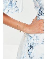 Missguided - Metallic Gold Bracelets Pack Of 3 Bracelets - Lyst