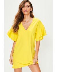 Missguided | Yellow V Neck Frill Sleeve Mini Dress | Lyst