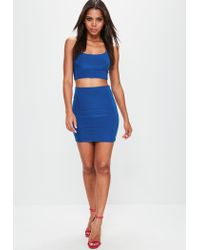 Missguided - Blue Slinky Strappy Bralet - Lyst