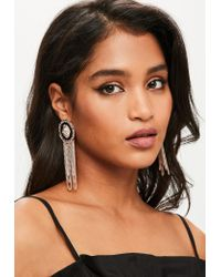 Missguided | Metallic Rose Gold Coin Chain Drop Earrings | Lyst
